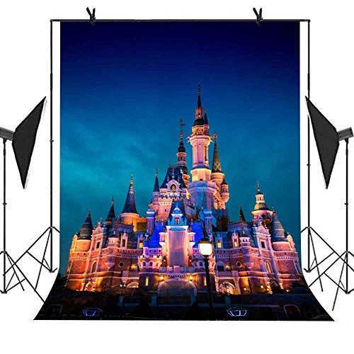MEETS 5x7ft Disneyland Backdrop Colorful Lights Illuminate Disneyland Background Newborn Child Photo Studio Props Themed Party Background GEMT120