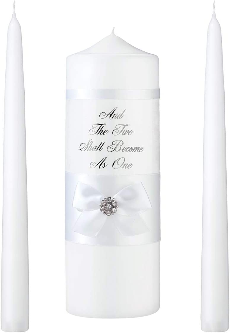 Lillian Rose White Lace Pillar and Taper Candle Set, 10