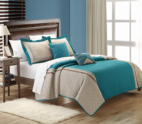 UPC 840444104236, Chic Home Rio 5-Piece Embroidered Quilt Set, Queen, Teal