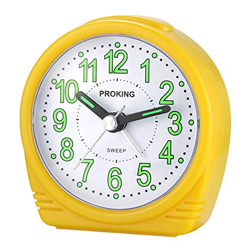 (Alarm Clock,Silent No-Ticking Bedside Analog Alarm Clock,Small Lightweight Travel Quartz Alarm Clock,with Snooze and Light,Large Digital Dial Easy to Set,Battery Operated,Best for Elder/Kids (Yellow))