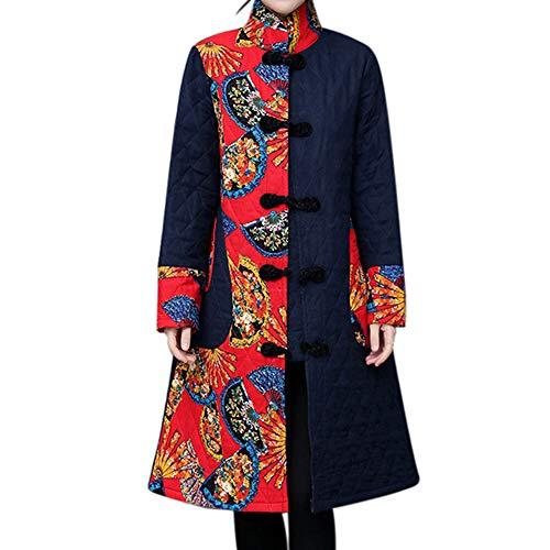 Velvet Print Coat (Women Print Velvet Cotton Coat,Mosunx Ladies Folk-Custom Print Warm Long Thick Coat Jacket Parka (XXL, Black))