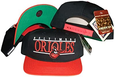 American Needle Baltimore Orioles Black/Orange Two Tone Snapback Adjustable Plastic Snap Back Hat/Cap from American Needle