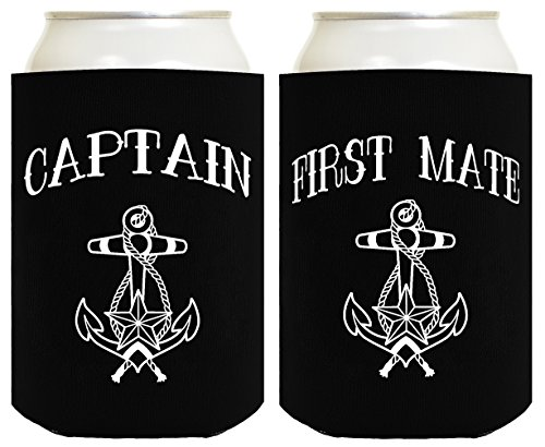Funny Can Coolie Captain and First Mate Nautical Sailing 2 Pack Can Coolies Black