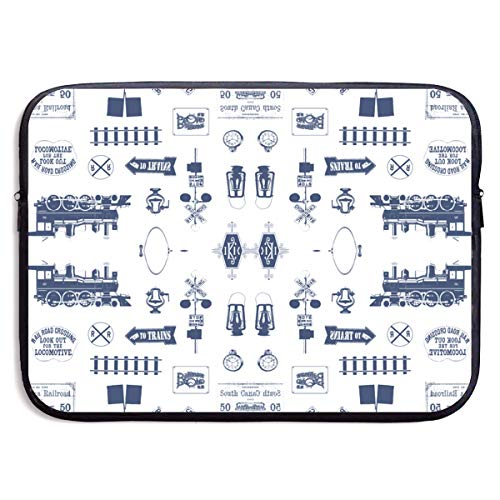 - Laptop Sleeve Bag Cove, 360° Protective Vertical Style Laptop Briefcase for Computer, Slim Travel Pouch Bag Compatible 13/15 inch Notebook, Navy Railroad Symbols