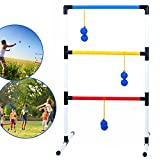Ideas In Life One Piece Ladder Ball Game Set - Indoor & Outdoor Games for Adults and Kids – Hillbilly Golf Backyard Toys Ladder Golf Toss Game and 3 Bolas