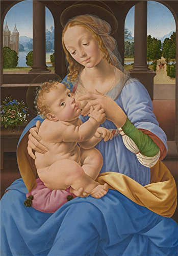 Oil Painting 'Lorenzo Di Credi The Virgin And Child ' Printing On Polyster Canvas , 30 X 43 Inch / 76 X 109 Cm ,the Best Living Room Artwork And Home Artwork And Gifts Is This High Resolution Art Decorative Canvas Prints