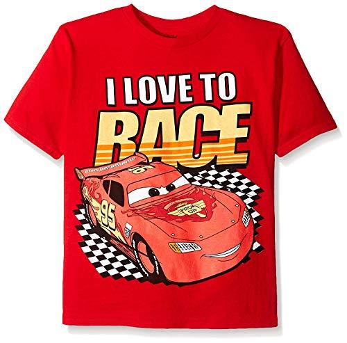 Disney Boys' Little Boys' Cars Lightning Mcqueen T-Shirt, I Love to Race Red, Small/4