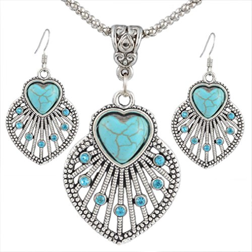 Souarts Womens Antique Silver Color Hollow Heart Imitation Turquoise Earrings Necklace Jewelry Set 46cm
