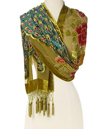 Velvet Beaded Scarf (Pashmina Peacock Beaded Velvet Silk Tassels Embroidered Scarf Wrap)