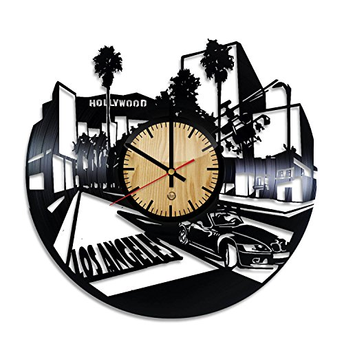 Welcome Dzen Store Los Angeles Record Wall Clock - Get unique of living room wall decor - Gift ideas for girls and boys – Hollywood Unique Art Design ()