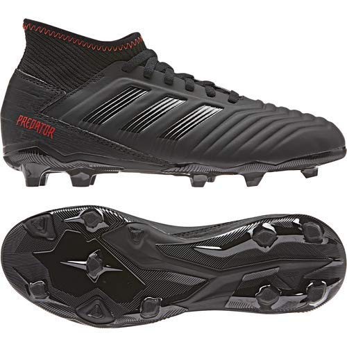 adidas Unisex Predator 19.3 Firm Ground, black/black/active red, 2.5 M US Little Kid by adidas (Image #7)