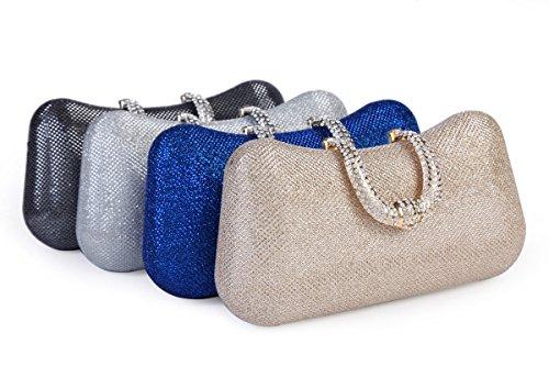 Rhinestone Evening Box Sequin Bag Silver Mesh Womens Hard Clasp Damara Clutch RH05YqZ