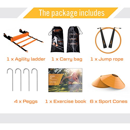 Speed Training Set - Agility Ladder, Jump Rope, Sport Cones and Exercise folder - Premium TRAINING TOOL SET For Faster Footwork And Better Movement Skills by Scandinavian Sports