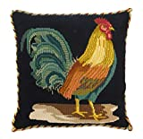 The Cockerel Needlepoint Tapestry Kit with black background from Elizabeth Bradley premium English needlework pillow or rug project with 100% wool yarns. The Victorian Animals Collection.