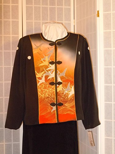 Silk jacket XL Plus size black blazer ''sunset flight'' from Japanese kimono silk #F59 by First Fruits Apparel