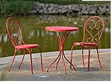 Image Unavailable - Amazon.com : Mainstays 3-piece Small Space Scroll Outdoor Red Bistro
