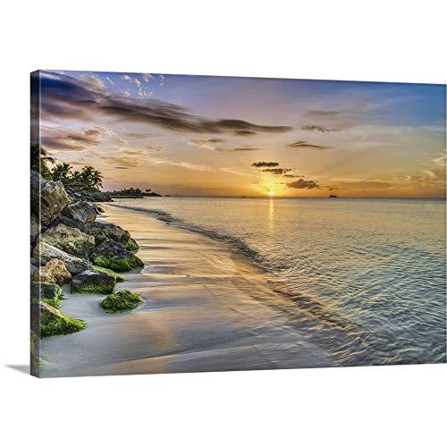 Sunset Over Dickenson Bay, St. John's, Antigua, West Indies Canvas Wall Art Print, -
