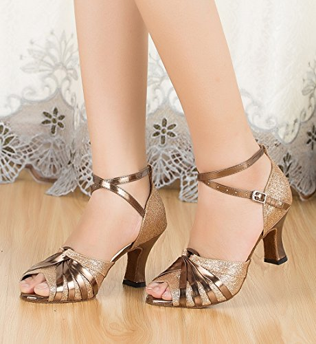 Dance MGM 7cm Latin Gold Joymod Ballroom Glitter Strap Heel Knot Shoes Modern Peep Style1 Toe Ankle Samba Tango Women's OOxTwqr