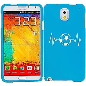 Samsung Galaxy Note 3 Snap On 2 Piece Rubber Hard Case Cover Heart Beats Soccer (Light Blue)