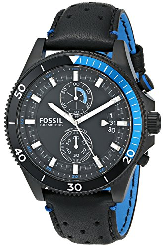 Fossil Men's CH2934 Wakefield Chronograph Black Stainless Steel Watch with Leather Band