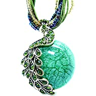 Pretty Jewelry Retro Bohemia Style Pendant Opal Phoenix Peacock Necklace
