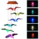 CXFF LED Solar Pigeon Wind Chimes Outdoor - Waterproof Solar Powered LED Changing Light Color Six Pigeons Mobile Romantic Wind-Bell for Home, Party, Festival Decor, Night Garden Decoration (Pigeon)