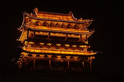 LAMINATED POSTER Pagoda Night China Temple Pingyao Old Town House Poster 24x16 Adhesive - Old Townhouses