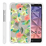 TurtleArmor | Compatible with Alcatel One Touch Fierce XL Case | Alcatel Flint Case [Slim Duo] Slim Snap On 2 Piece Hard Cover Protector Case Girls on White - Hawaiian Flowers