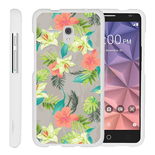 TurtleArmor | Alcatel One Touch Fierce XL Case | Alcatel Flint Case [Slim Duo] Slim Snap On 2 Piece Hard Cover Protector Case Girl Designs on White - Hawaiian Flowers