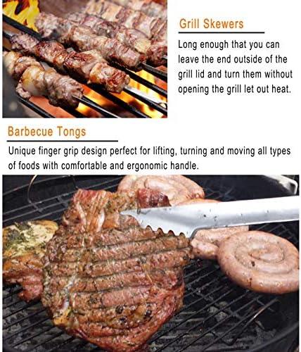 grilljoy Ensemble Barbecue, 25pcs Barbecue Accessoire avec résistant à la Chaleur dans Le Cas, Premium complète kit Barbecue en Plein air ustensiles pour Barbecue Ensemble pour Homme