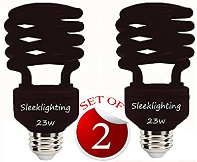 SleekLighting 23 Watt T2 BLACK Light Spiral CFL Light Bulb, 120V, E26 Medium Base-Energy Saver (Pack of 2)