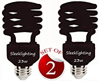 SleekLighting 23 Watt T2 BLACK Light Spiral CFL Light Bulb 120V E26 Medium Base-Energy Saver (Pack of 2)