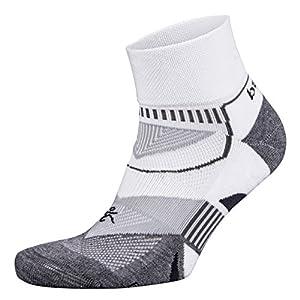 Balega Enduro V-Tech Quarter Socks For Men and Women (1-Pair), White/Grey, Large