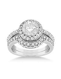Halo Engagement Ring and Matching Wedding Band Palladium (0.55ct)