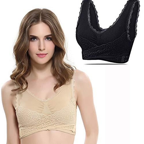 Front Closure Lace Bra - Fadfed 2Pcs/Pack Women's Plus-Size Seamless Sports Bra Breathable Front Cross Side Buckle Wireless Lace Yoga Bra (Beige Black XL)