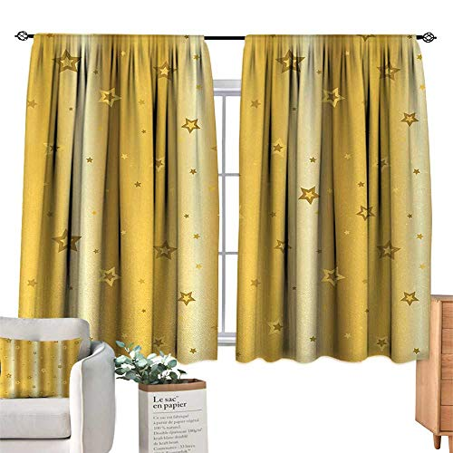RuppertTextile Thermal Insulated Drapes for Kitchen/Bedroom Retro,Old Fashioned Vibrant Background with Star Figures Icons Abstract Artistic Design Print,Gold Privacy Protection 63