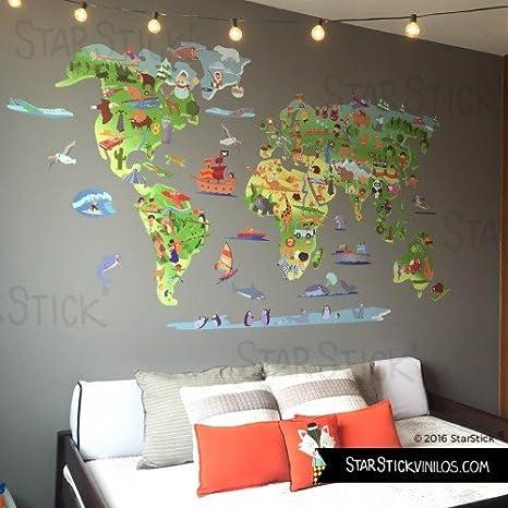 StarStick - Mapa mundi de dibujos 100x60 cm - Vinilos decorativos ...