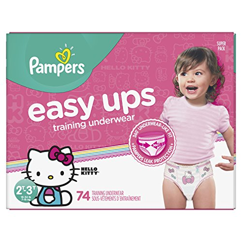Large Product Image of Pampers Easy Ups Pull On Disposable Training Diaper for Girls, Size 4 (2T-3T), Super Pack, 74 Count