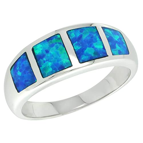 Sterling Silver Blue Synthetic Opal Band Ring for Women Square Inlays Tapered 5 16 inch