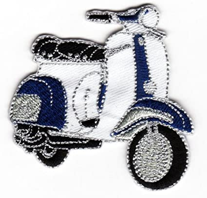 VESPA TWO TONE RED BLUE WHITE SCOOTER MOD PATCH