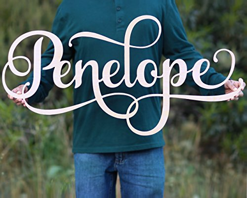 Custom Girls Name Nursery Wooden Sign, Penelope Font Personalized Nursery Decor, New Baby Gift, First Name Wood Cutout, Personalized Kids Room Sign Decor -