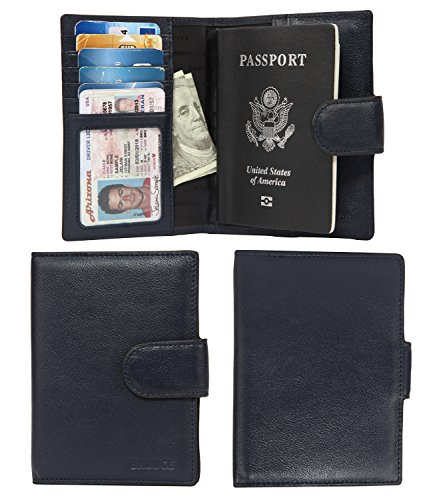 Banuce Italian Leather Passport Cover Card Holder Travel Wallet Color Dark Blue -