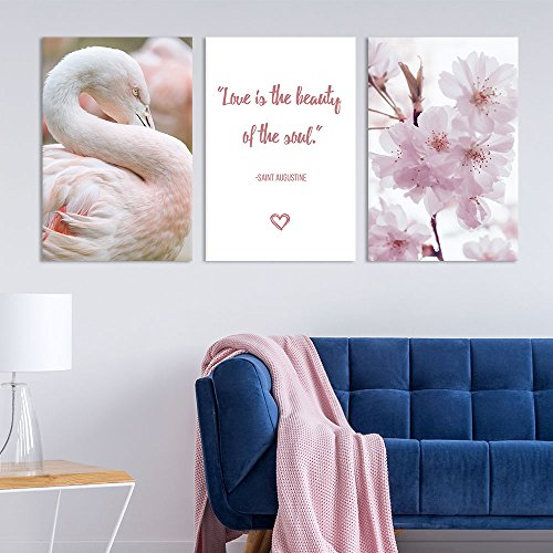 3 Panel Pink Cherry Blossom Flamingo and Inspirational Quotes Gallery x 3 Panels