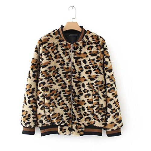Face Dream Women Vintage Leopard Print Faux Fur Bomber Jacket Zip Up Crew Neck Short Coat Brown Small