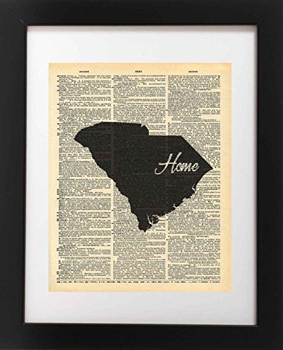 South Carolina State Vintage Map Vintage Dictionary Print 8x10 inch Home Vintage Art Abstract Prints Wall Art for Home Decor Wall Decorations For Living Room Bedroom Office Ready-to-Frame Home - South Carolina Antiques