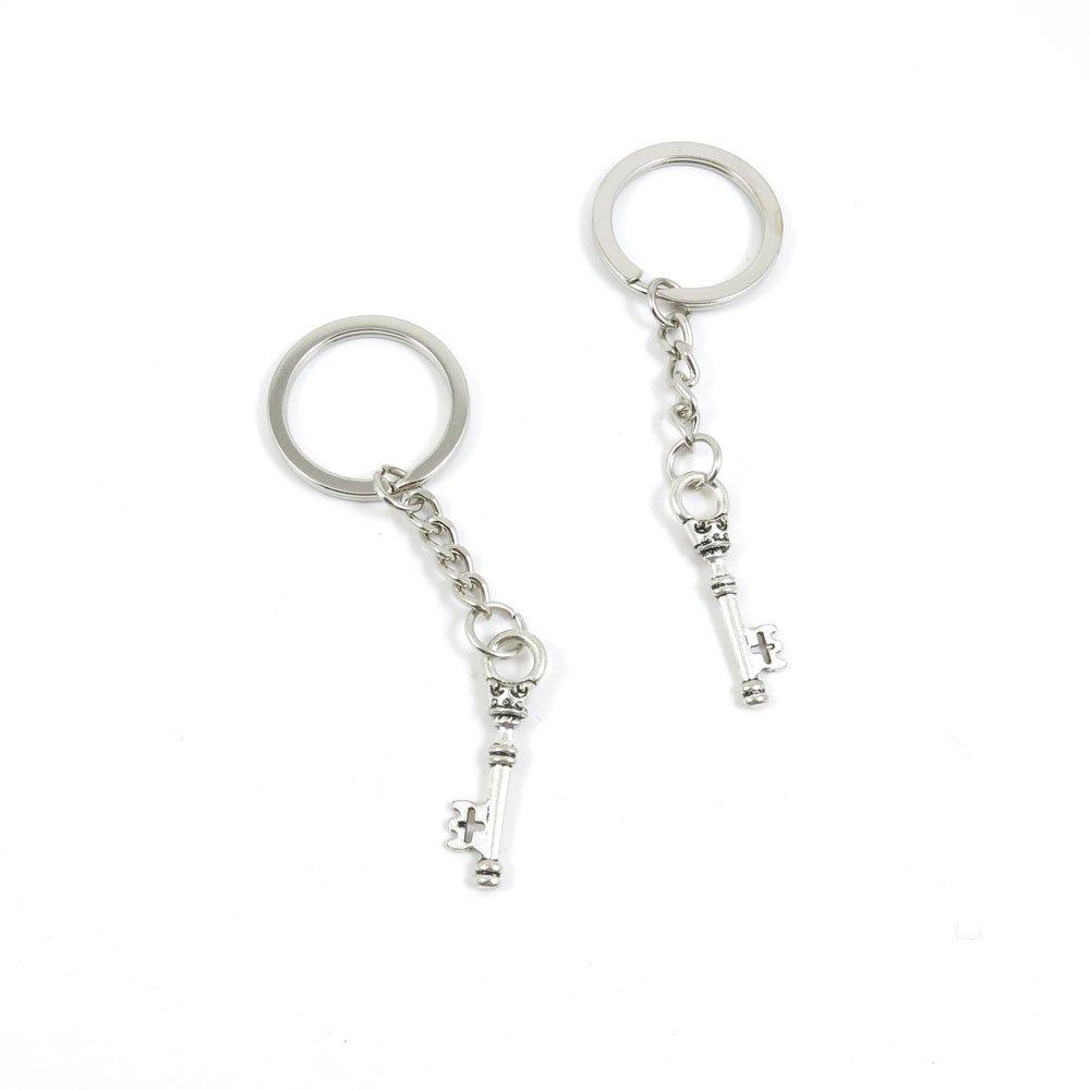 100 Pieces Keychain Door Car Key Chain Tags Keyring Ring Chain Keychain Supplies Antique Silver Tone Wholesale Bulk Lots W4BK2 Magic Key