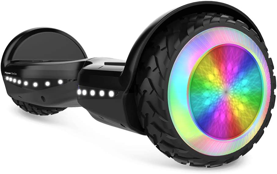 HYPER GOGO Hoverboard, Off Road All Terrain Hoverboards with Bluetooth Speaker, Colorful LED Light Wheels, UL Certified,6.5 inches Self Balancing ...