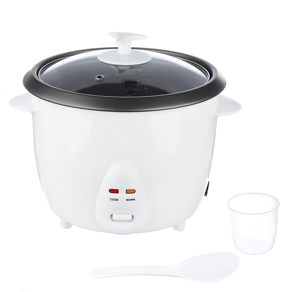 Melko - Cuoci riso per verdure, vaporiera, Rice cooker, in metallo, alluminio e plastica, elettrico, 700 Watt, 1,8 l, bianco, con accessori