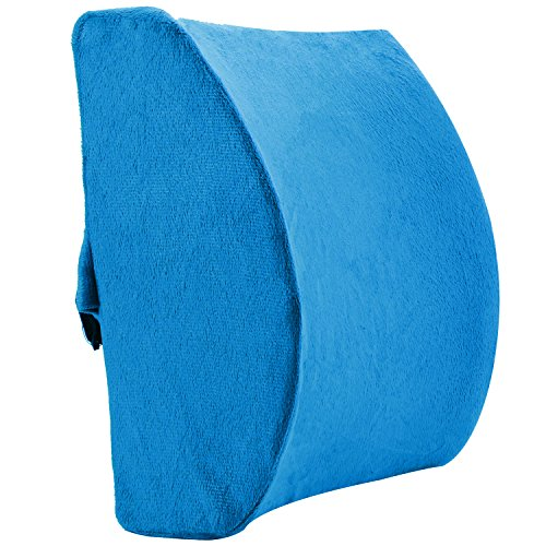 Minerva Lumbar Pillow Memory Foam Backrest Support Cushion, Improve Posture Lower Back Pain Relief for Office Chair Car Seat with Adjustable Strap & Carry Bag (Blue)