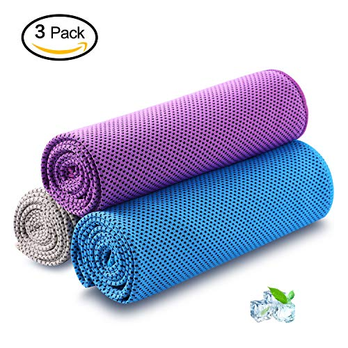 (Cooling Towel Pack of 3 Sports Towels SKL Stay Cool Towel for Sports, Swimming, Women, Yoga, Workout, Athletes, Gym, Neck, Golf, Travel 40 inch x 12 inch - 3PCS Blue Purple Grey)